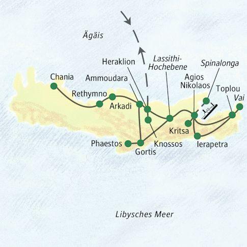 Kreta-Reiseroute
